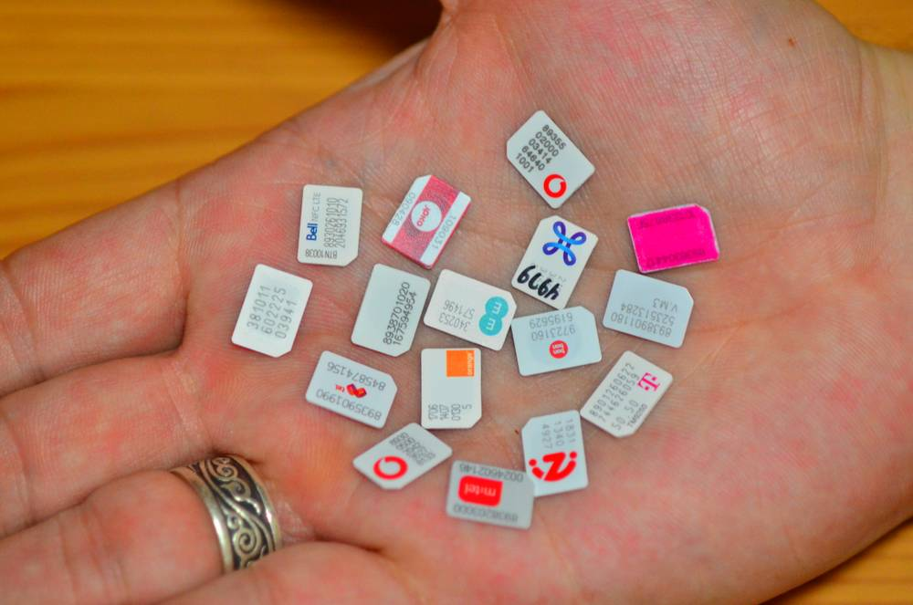 A handful of SIM cards