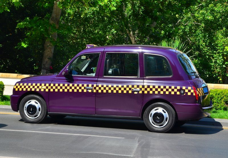 Baku, Azerbaijan purple London taxi